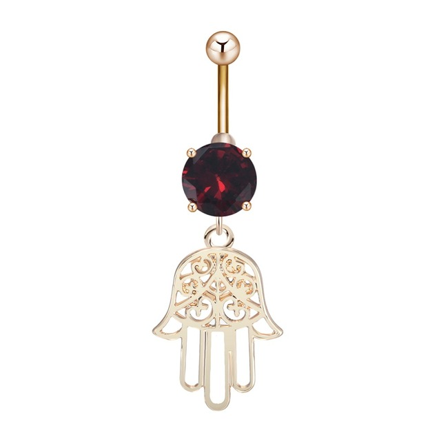 Us 0 95 50 Off Qiming Hamsa Hand Belly Button Rings Fancy Evil Eyes Summer Jewelry 316l Surgical Steel 14g Dangle Navel Belly Rings On