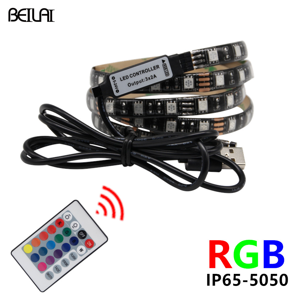 Led Strip Waterproof Us 1 99 30 Off Beilai 5050 Dc 5v Rgb Led Strip Waterproof 60led M Usb Led Light Strips Flexible Neon Tape 1m 2m 3m Add Remote For Tv Background In