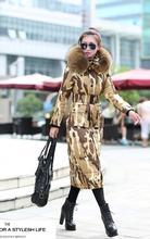 Detachable large fur collar hooded duck down jacket women thicken camouflage ultra long slim down coat female winter coat 3XL