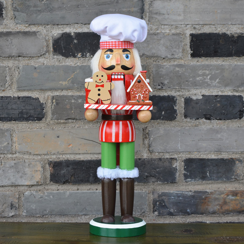 34CM Christmas Creative wood Nutcrackers collection Candy Chef Nutcrackers Christmas Home decoration Ornament Wooden crafts in Figurines Miniatures from Home Garden