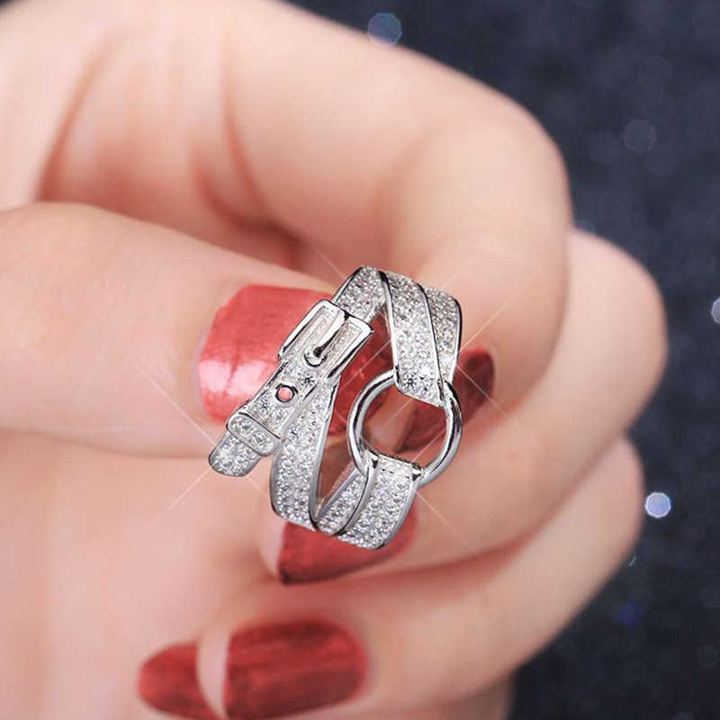 แหวนเงินเข็มขัดรูปร่างวงแหวนคริสตัล Zircon แฟชั่นบุคลิกภาพความคิดสร้างสรรค์แหวนผู้หญิง