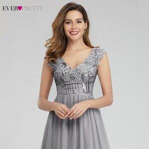 Image 5 - Elegante Grau Prom Kleider Lange Immer Ziemlich EP00984GY A Line V ausschnitt Sexy Pailletten Formale Party Kleider Vestidos Largos De Fiesta