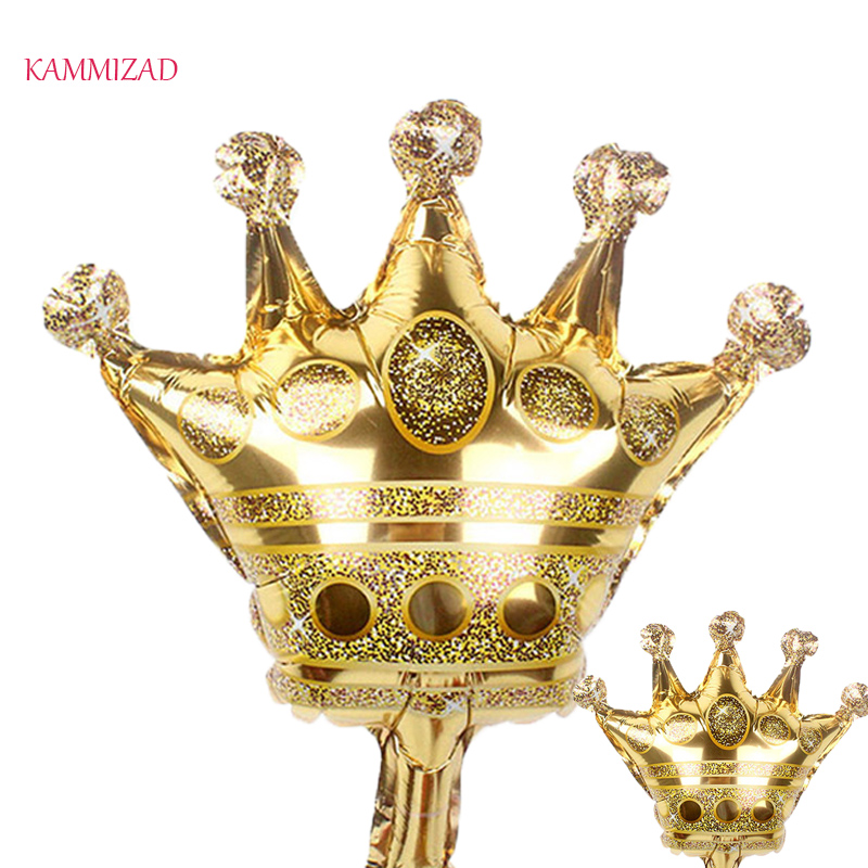 KAMMIZAD 10pcs 16inch Crown Balloon Prince Foil Ballon For Happy Birthday Wedding   Party Baby Decoration Baby Boy Girl Aluminum
