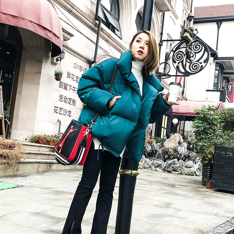 Loose fit stand collar fashion white duck   down   jackets women thickening warm winter   down     coats   outerwear 2019 autumn new