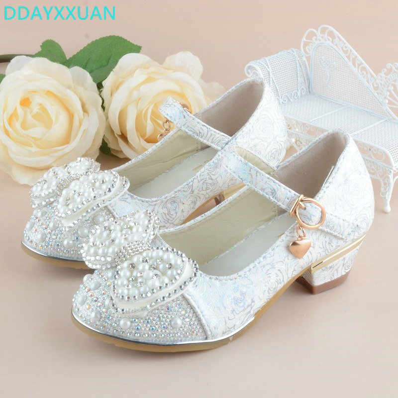 Childrens Shoes Crystal Bow Shiny High Heels Princess Shoes Hot Sale Kids New Spring Gir ...