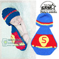 Hot Sale Cartoon Superman Suit Baby Photography Child Handmade Cosplay Sets With Hat Newborn Infant Boys Girls Woolen Costume