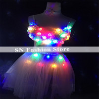 EC58 Luminous light Tutu dresses party bar rave colorful led costume dj disco club wears cloth Puff skirt stage bikini skirt ktv