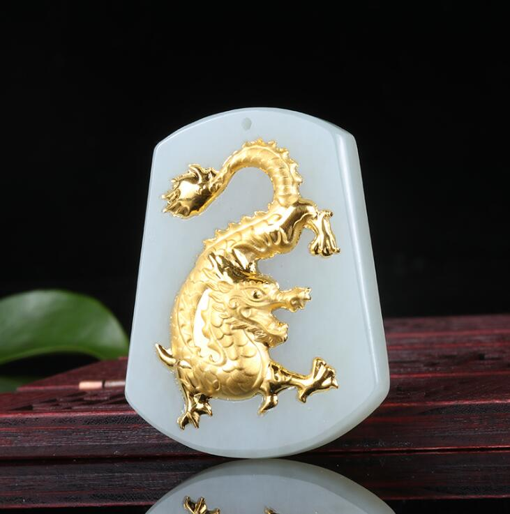 Natural White HeTian Yu 100% Full Gold Inlaid Carved Chinese Zodiac Dragon Lucky Pendant + Rope Necklace + Certificate Jewelry natural jadeite chinese zodiac jade pendant zodiac dog transshipment protective jade yu pei necklace pendant send a certificate