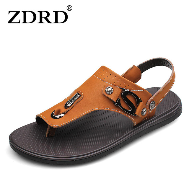 ZDRD Summer Men's Sandals High Quality Full Grain Leather Mens Shoes Slippers Beach Walking Casual outdoor men sandal Size 37-46
