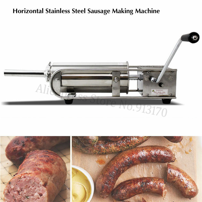 7L Horizontal Stainless Steel Sausage Stuffer Filler Machine Meat Salami Maker Manual Operation Spanish Churros Maker
