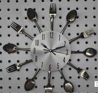 Duży zegar ścienny a002 nóż widelec łyżka oryginalność kuchnia restauracja w Stylu decorAntique promocja 2017 quartz metal wyciszenie