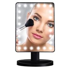 DONWEI LED Touch Screen 24 Light Makeup Mirror Table Desktop Makeup Mirrors Vanity Light Health Beauty LED Mirror Battery power