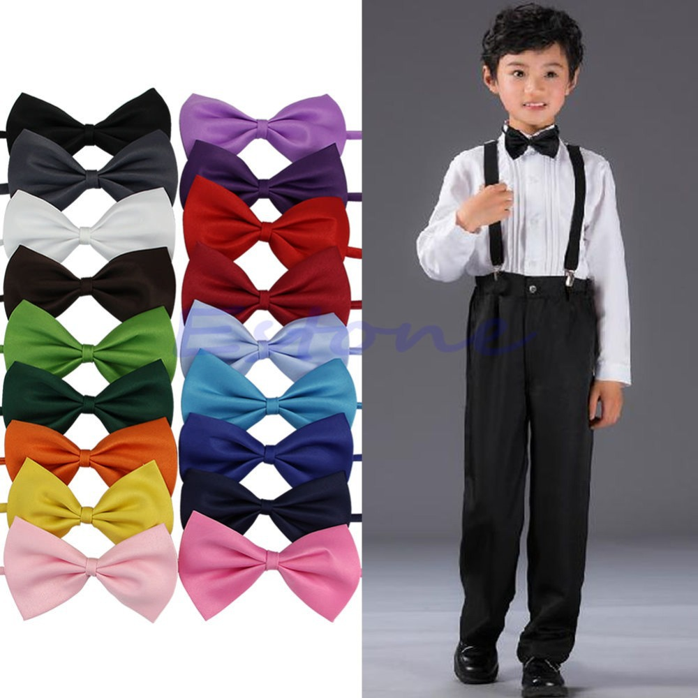 KLV New Children Bow Tie Boys Girls Kids Student Cute Butterfly Knot Solid Taking Picture Photograph Ceremony Party