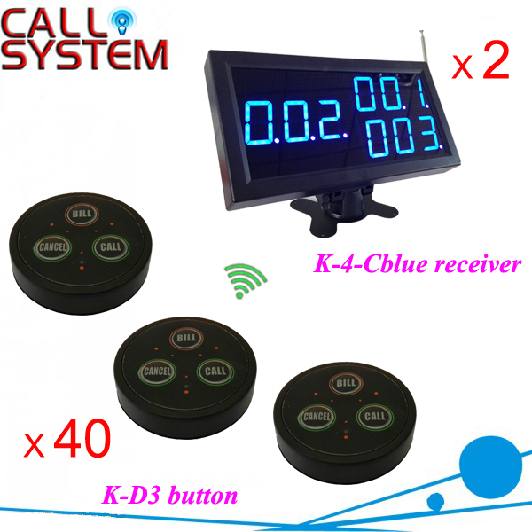 Customer call bell system 2 display panel 40 alarm buzzers wireless service equipment 2 receivers 60 buzzers wireless restaurant buzzer caller table call calling button waiter pager system