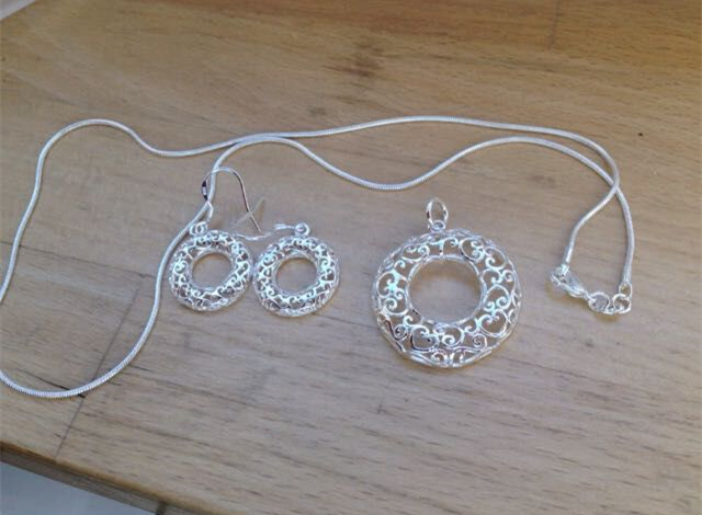 Silver Jewelry sets Necklace Earring Ring Hollow Flower Snake chain