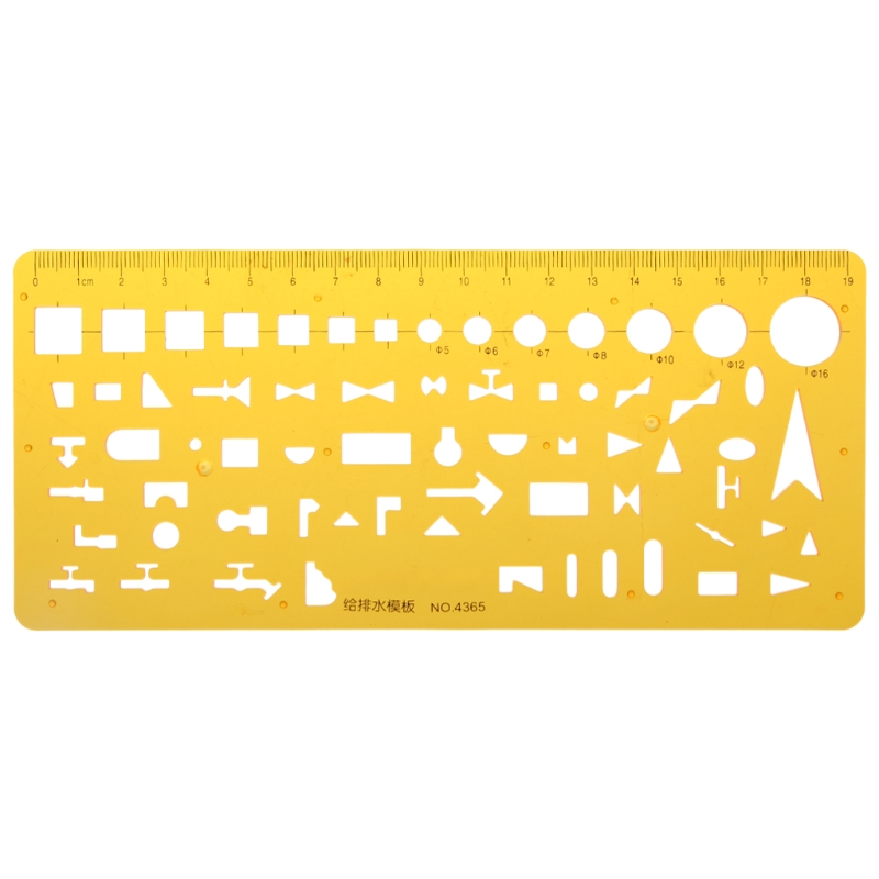 K Resin Water System Design Drawing Template Drainage Ruler Measuring Tool Gift