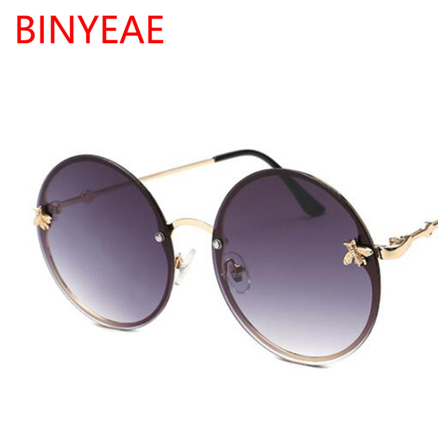 85dfdbac86c1e Red Glasses Bee Round Sunglasses Vintage Brand Designer Women s Round Sunglasses  Men Retro Big Circle Glasses