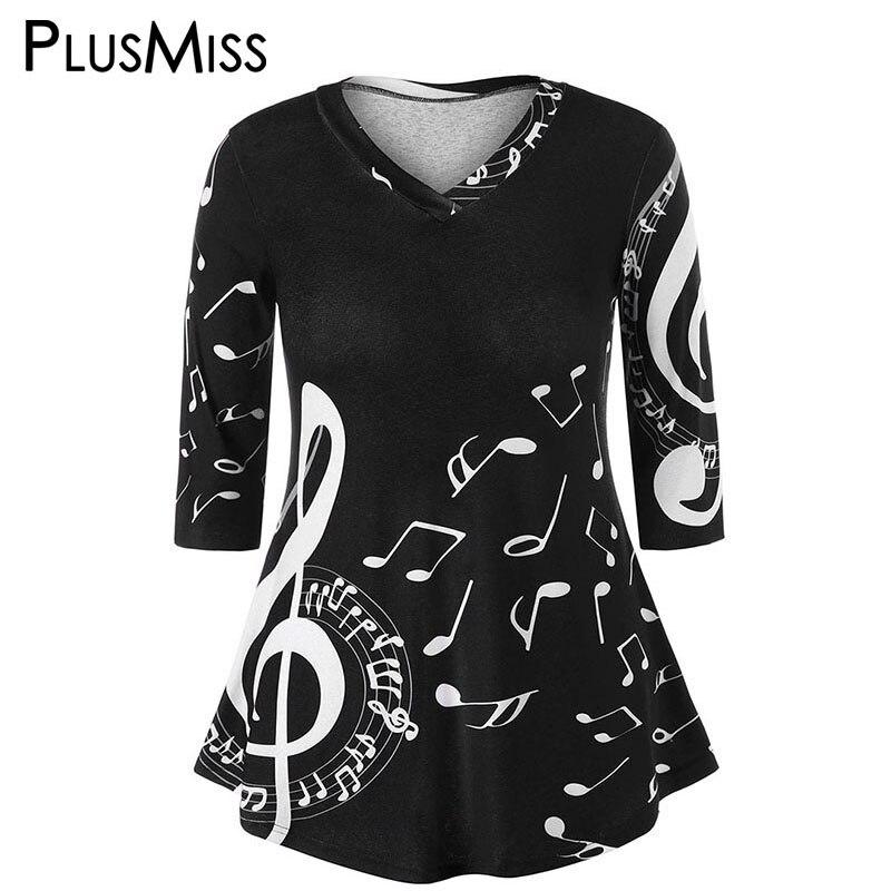PlusMiss Plus Taille 5XL 4XL Blanc Noir Musique Imprimer Tunique Tops Tee Femmes 2018 D'été T-shirt Grande Taille Casual lâche T Shirt