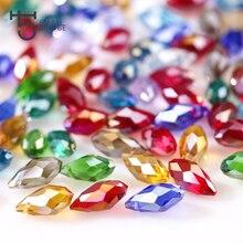 Mala Hole Waterdrop Austria AAA Crystal Beads 8*13MM 50pcs Pretty Shiny Teardrop Glass Beads Briolette For Jewelry Making DIY