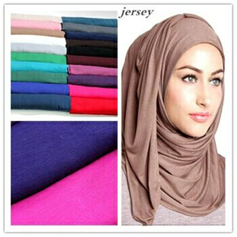 21 Farben 180 * 85 cm Mode Maxi Schals Plain Elastic Jersey Hijab Solide Stretchy Headwear Wrap Neck Foulards Muslim Sjaal Snood