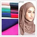 21 Cores Cor Lisa Sólida Jersey Abaya Hijab 2017 Moda Fulares Mujer Envoltório Baixada Mulheres Foulard Echarpe Sjaal Inverno 180*85 Cm