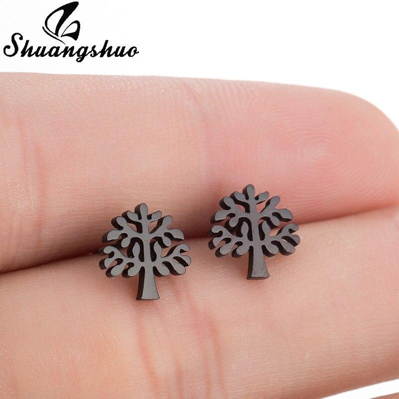 Shuangshuo Tree Stainless Steel Earrings Tree Stud Earrings For Women Fashion Jewelry Family Trees Charm Ladies Vintage Earrings