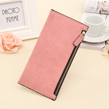 New Women Handbag Pure Bright color Fashion Zipper Retro banknote clip PU School Style Soft for schoolgirl