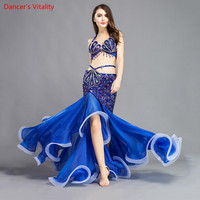2018 Professional Stage Dance Wear Belly Dance Clothing Oriental Dancing Luxury Sexy Bra +Long Skirt Belly Dance Costume
