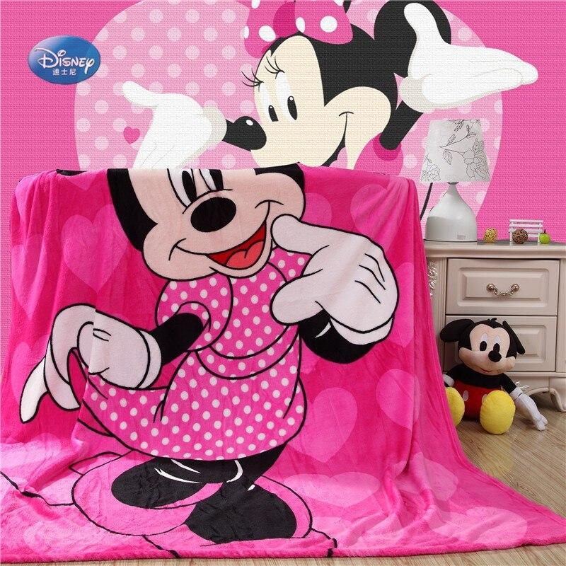 Dibujos animados de Disney Rosa Minnie Mickey Mouse suave franela manta tiro para niñas niños en cama sofá 150X200 cm niños regalo