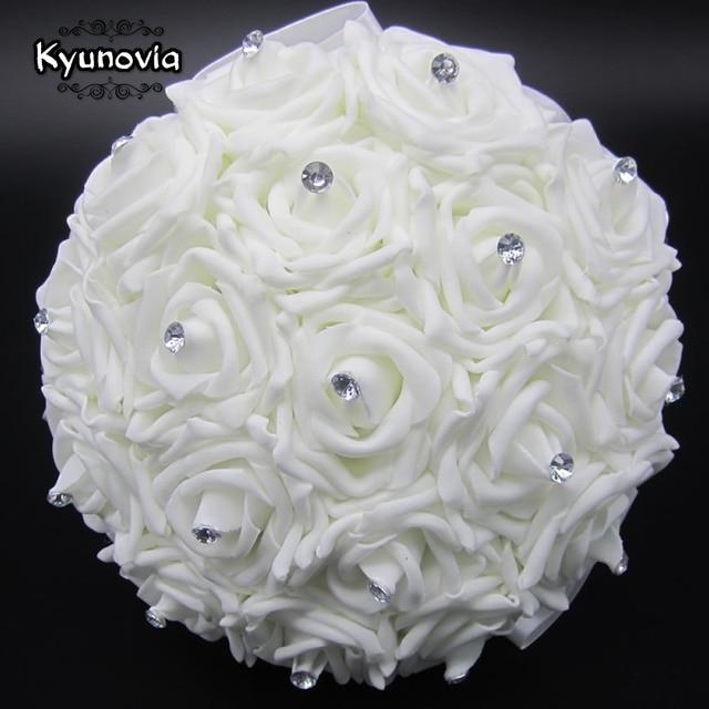 kyunovia blanco precioso ramo de la boda de dama de honor nupcial broche de flores de - Fotos De Flores Preciosas