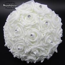 Kyunovia Lindo Buquê De Casamento Branco Da Dama de Honra Nupcial Broche Bouquet Flor Rosa Buquê De Casamento Flores Bouquets de Noiva FE2