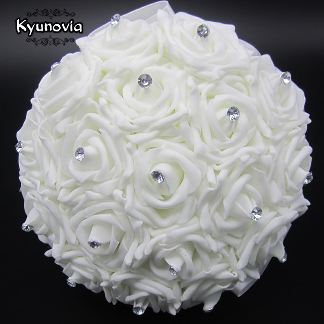 Kyunovia Lovely White Wedding Bouquet Bridal Bridesmaid Brooch