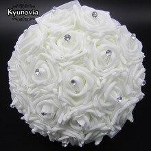 Kyunovia beau Bouquet de mariage blanc avec des broches de demoiselle dhonneur, Bouquet de fleurs de Rose, Bouquets de mariée FE2