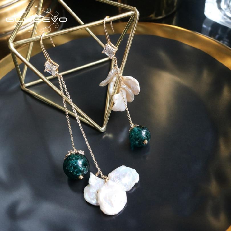 GLSEEVO Natural Fresh Water Baroque Pearl Drop Earrings For Women Glass Beads Asymmetrical Dangle Earrings Fine Jewellery GE0520