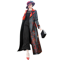 Повседневное черный кожаный длинная куртка Вышивка цветок пальто Для женщин 2018 осень зима Длинные PU кожаные пальто женские 6989