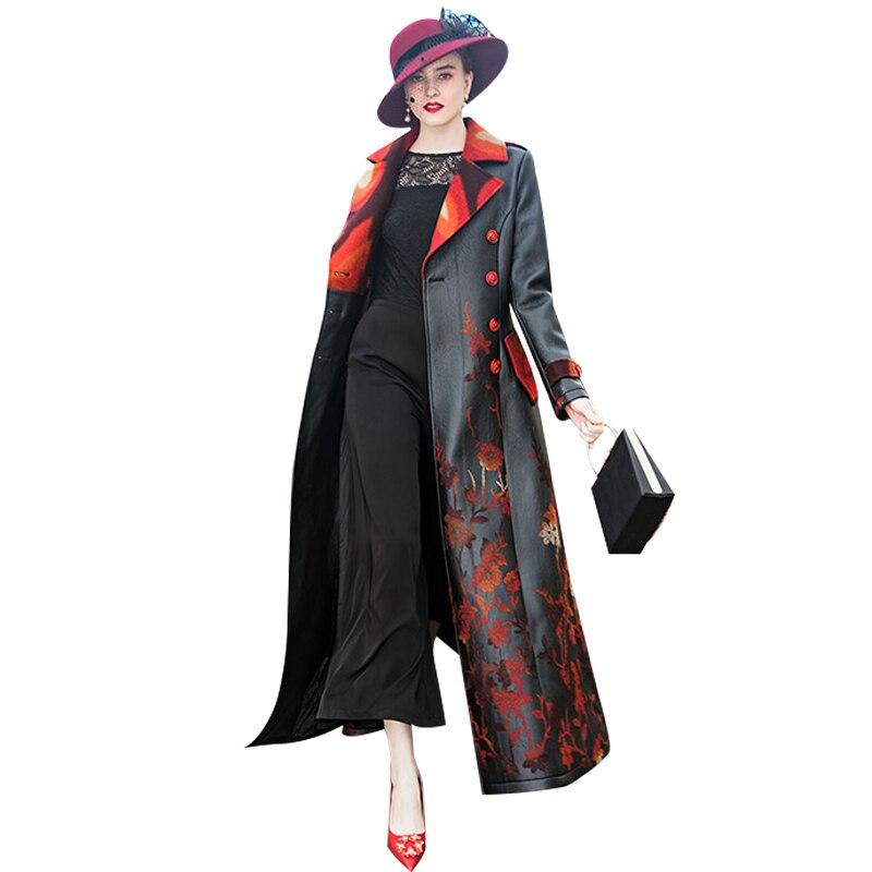 Casual Black   Leather   Long Jacket Embroidery Flower Coat Women 2018 Autumn Winter Long PU   Leather   Coat Female 6989