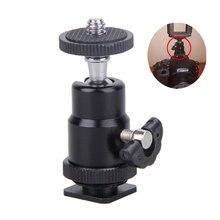 미니 카메라 크래들 삼각대 볼 헤드 LED 라이트 플래시 브래킷 홀더 마운트 1/4 인치 핫슈 어댑터 잠금 저렴한 판매