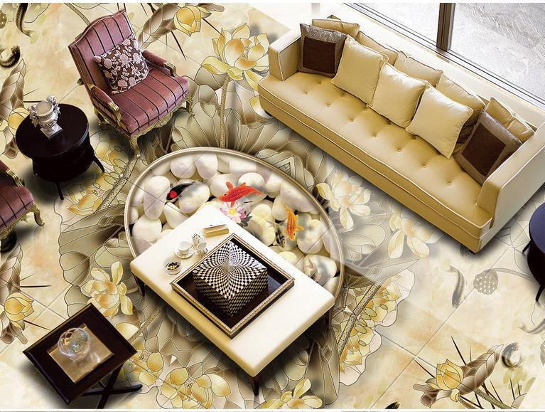 3d floor custom wallpaper living room Lotus nine fish figure 3d pvc flooring waterproof wallpaper self adhesive 3d floor murals high quality pvc tile flooring custom self adhesive waterfalls lotus carp 3d floor murals bathroom kitchen wallpaper 3d floor