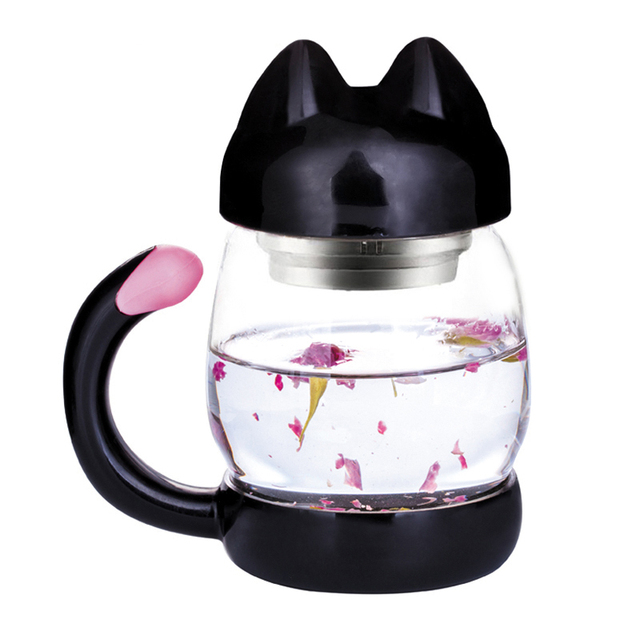 Cute Glass Water Coffee Kettle shaped Bottle With Filter 420ML 3
