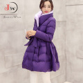2016 Winter Outerwear Down Coat Women Long Bow Waist Fluffy Skirt Slim Cotton-padded Jacket Plus Size Parka Coats WC0432