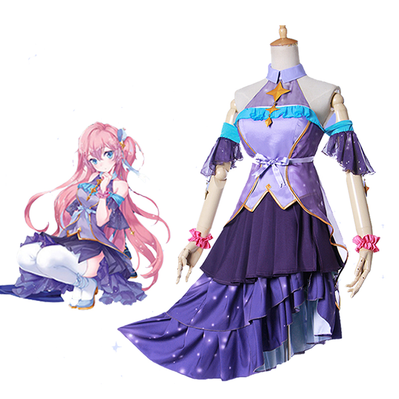 Anime Vocaloid Snow and Stars Princess Megurine Luka Cosplay Costume Women Lolita Dresses Halloween Carnival Uniform Custom Made