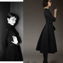 30-женское винтажное 50s платье Одри Хепберн ретро с Коротким Рукавом Плиссированное маленькое черное платье большого размера плюс vestidos элегантное jurken