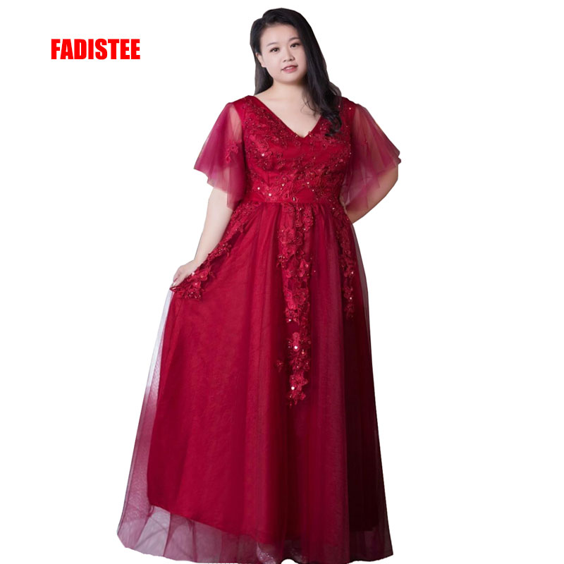 FADISTEE New arrival elegant prom party   evening     dresses   beading Vestido de Festa long gown lace V-neck half sleeves plus size