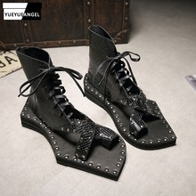 2019 Design Runway Genuine Leather Snakeskin Casual Sandals Lace Up Vintage