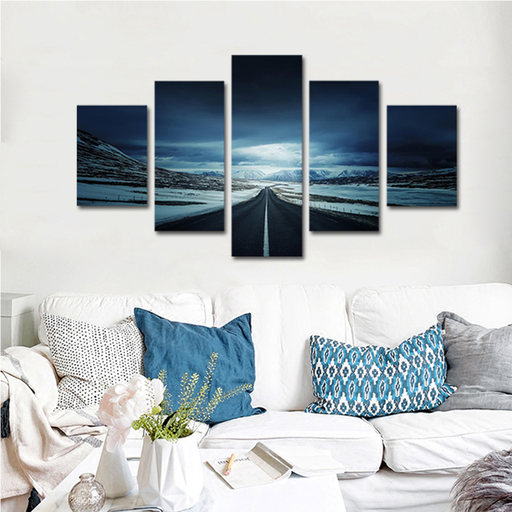 Unframed Canvas Painting Dark Clouds Snow Mountain Highway Photo Prints Wall Pictures For Living Room Wall Art Decoration
