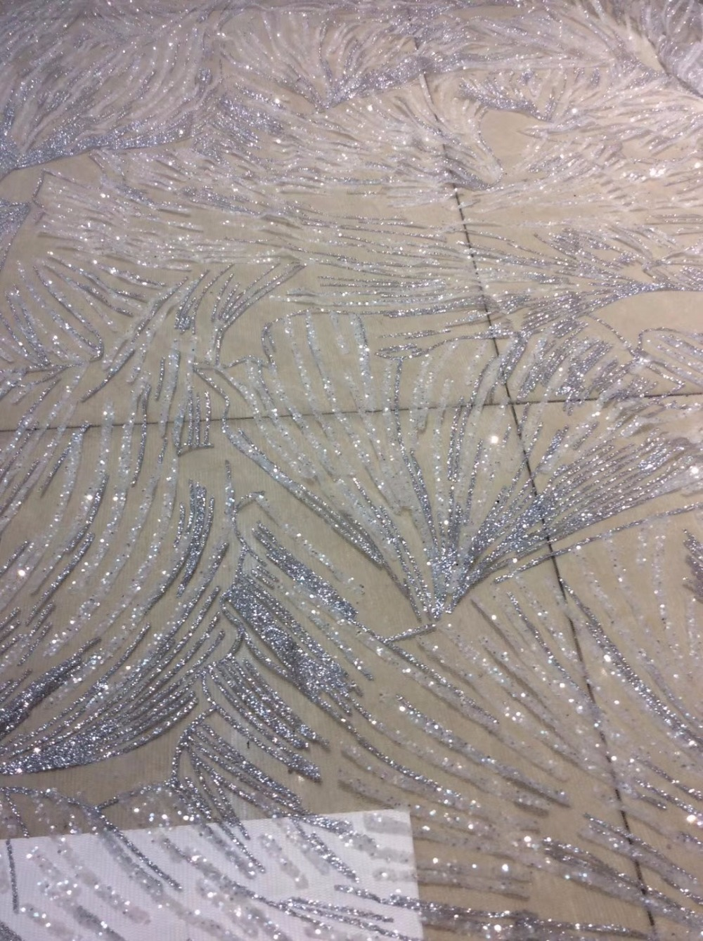 5 yards D001 crystal mix silver color dobby sexy glued sparkle glitter mesh  net tulle lace d4b25700da4f