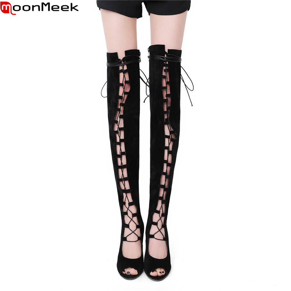 MoonMeek fashion spring autumn women shoes zipper flock ladies boots high heels cross tied peep toe sexy over the knee boots