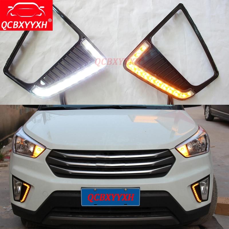 QCBXYYXH для Hyundai IX25 2014 2015 2016 2017 АБС 12В LED дневного света DRL туман Лампа Водонепроницаемый украшение автомобилей стайлинг