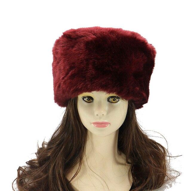 12b64379cb935e Winter Hats For ladies Bomber Hat Fluffy Faux Fox Fur Red Warm Earflap Cap  Windproof Women Thicker Russian Ushanka Hat Black