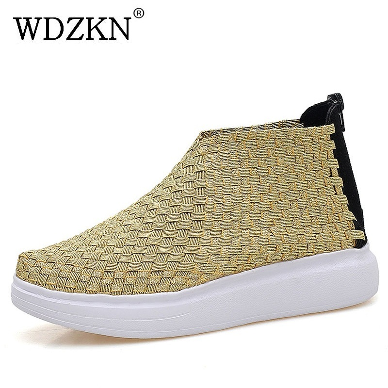 WDZKN Fashion Platform Ankle Boots For Women Casual Flat Shoes Breathable Woven Round Toe Zipper Summer Women Boots Botte Femme